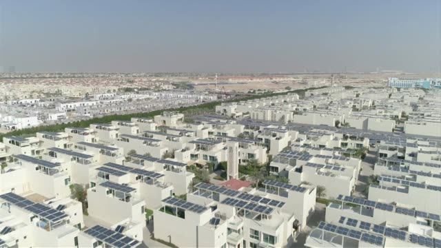 Drone aerials over the Sustainable City the first net zero energy development in Dubai