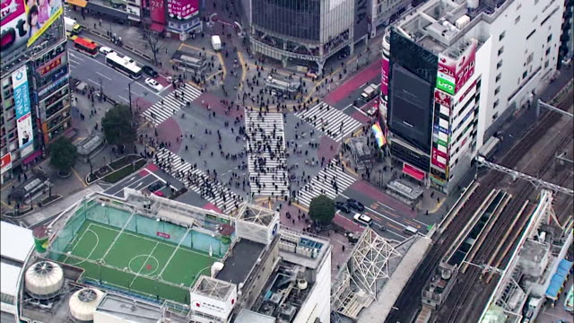 drone aerials over tokyo city, japan - busy stock videos & royalty-free footage