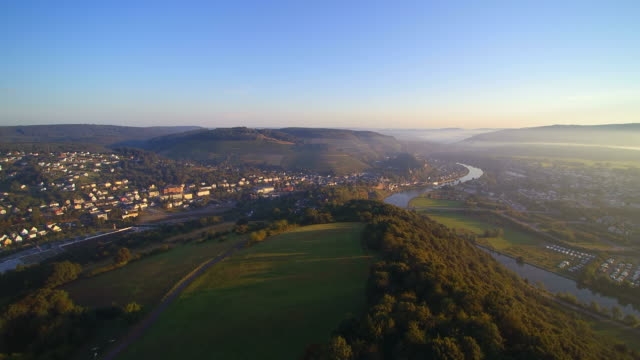 Drone air view of Saar Valley near Saarburg, District Trier-Saarburg, Rhineland-Palatinate, Germany