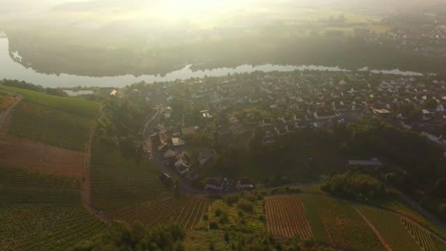 drone air view of saarburg-niederleuken, saar valley, district trier-saarburg, rhineland-palatinate, germany - saarburg stock-videos und b-roll-filmmaterial