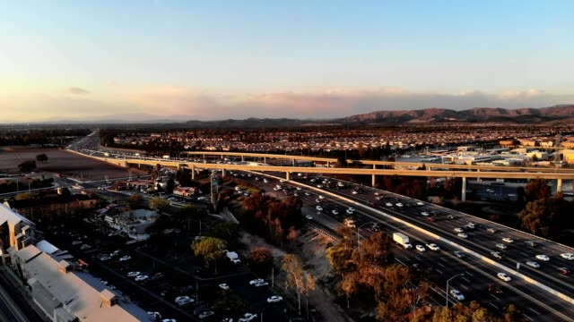 A drone approaches interstate 5 in Irvine California