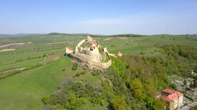 A drone approaches the citadel of Rupea village in Județul Brașov Romania