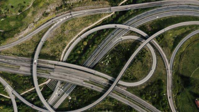 vídeos y material grabado en eventos de stock de drone ascendente y girando rápido por encima de la carretera grande - vía principal