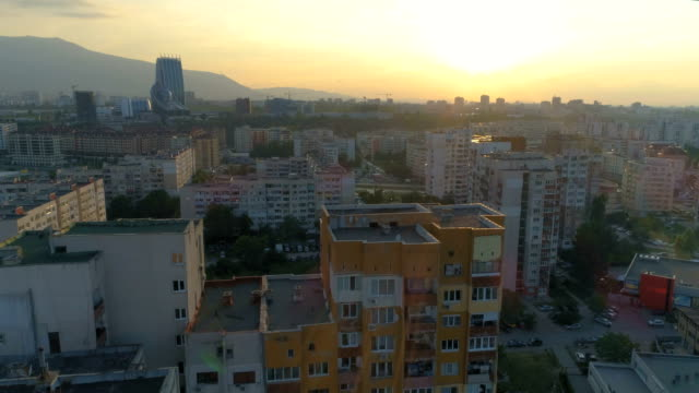 drone ascending revealing sofia city at sunset - bulgaria stock videos & royalty-free footage