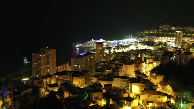 drone, at night over monaco - monaco stock-videos und b-roll-filmmaterial