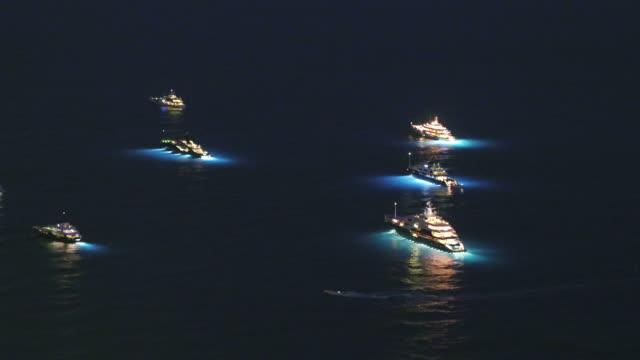 drone, at night over monaco - monaco stock videos & royalty-free footage