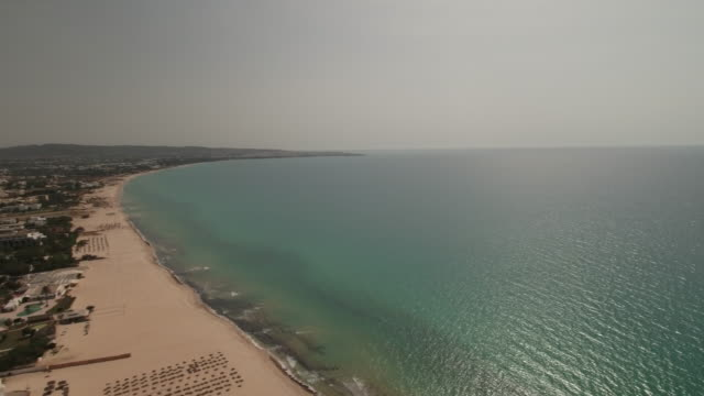 Drone, Beautiful beach , coastline Tunis, North Africa