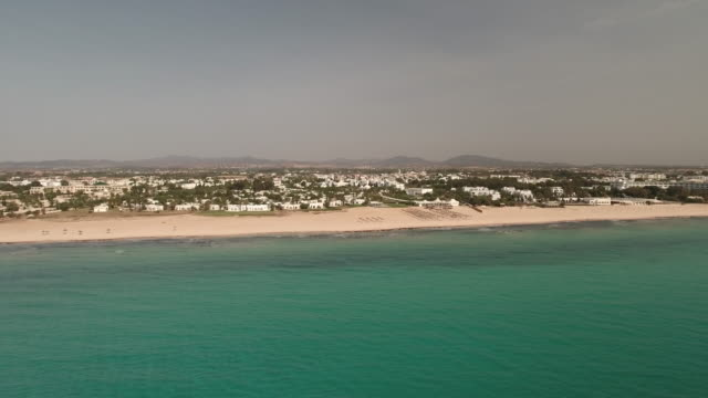 drone, beautiful beach tunis, north africa - tunisia video stock e b–roll