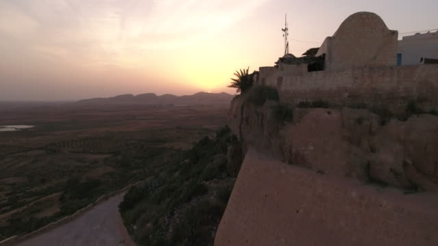 Drone, Beautiful Sunset, Desert, Tunis, North Africa, Berber village