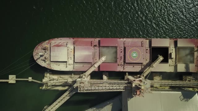 vídeos de stock, filmes e b-roll de drone birdseye footage of a bulk carrier at the cargill grain port by the tapajos river in santarem amazonian state of para brazil on august 22 2017... - amazonas state brazil