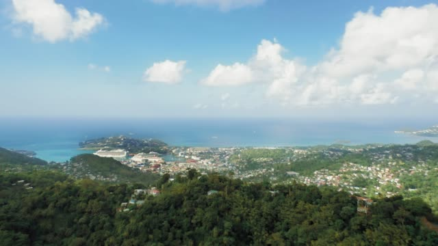 vidéos et rushes de drone camera is moving away from the sea, which passes into the sky. on the mountainous coast, a dense forest and a white city with ships (rodney bay, saint lucia) - arbre tropical