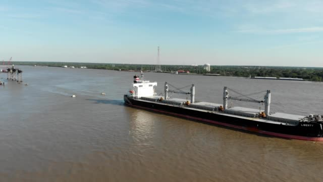 A drone capture a liberty tanker on the Mississippi river in Chalmette Louisiana