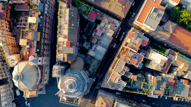 A Drone captures a birdseye perspective of neighborhoods in Rome Italy