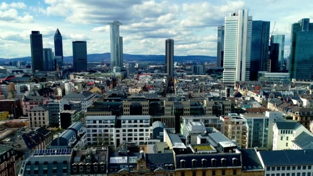 A drone captures a cityscape of Frankfurt Germany