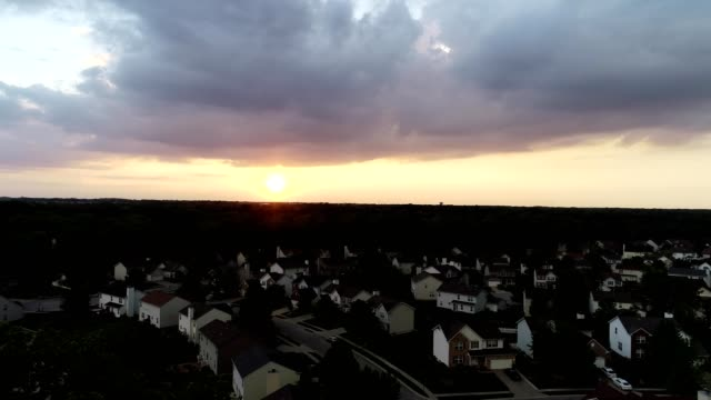 A drone captures a Sunset at West Indianapolis Indiana
