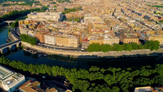 A Drone captures a waterway Rome Italy