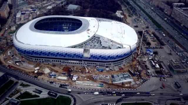 a drone captures dinamo stadium during restoration for the 2018 football world championship in moscow russia - world sports championship stock videos & royalty-free footage