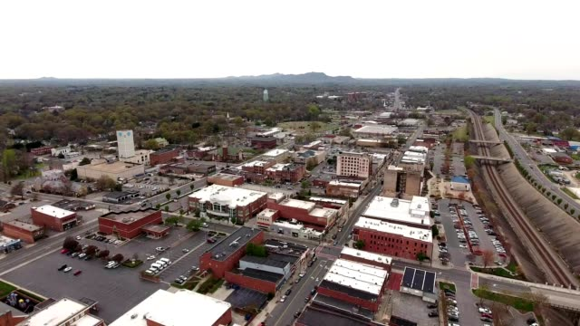 a drone captures downtown gastonia north carolina - dronebase stock videos and b-roll footage
