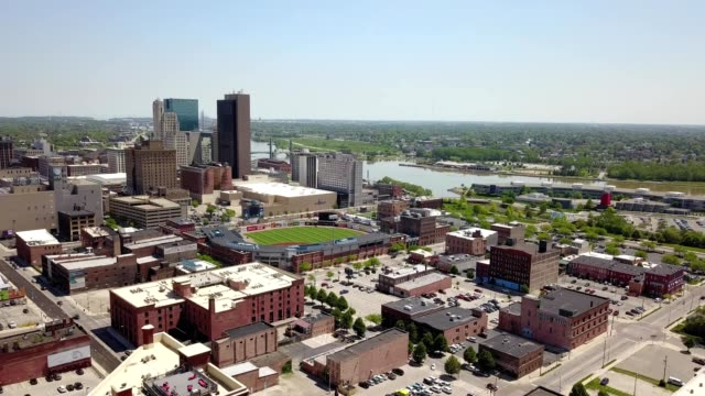 a drone captures downtown toledo ohio - ohio stock videos & royalty-free footage
