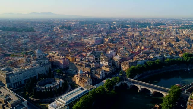 a drone captures early morning in rome lazio italy - イタリア ローマ点の映像素材/bロール