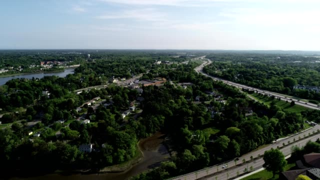 a drone captures multiple highways in portsmouth new hampshire - new hampshire stock-videos und b-roll-filmmaterial
