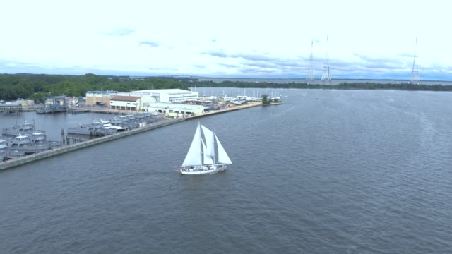 a drone captures schooner woodwind in annapolis harbor maryland - wind instrument stock videos & royalty-free footage