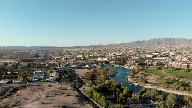 a drone captures the london bridge in lake havasu city arizona - southwest usa stock videos and b-roll footage