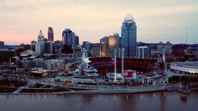 A drone captures the Red Stadium in downtown Cincinnati Ohio