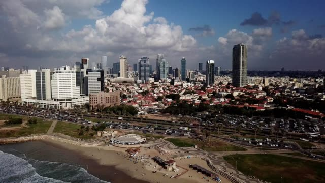 a drone captures the tel aviv yafo skyline in israel - tel aviv stock videos & royalty-free footage