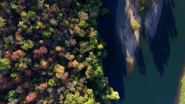 A drone caputures a birdseye view of a river by fall colored trees in Branson Missouri