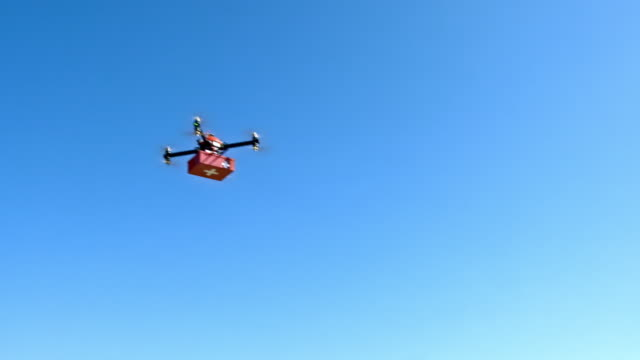 Drone carrying a first aid kit across blue sky