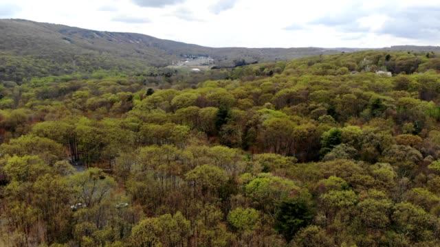a drone circles around trees to reveal a hidden tennis court in tannersville pennsylvania - poconobergen bildbanksvideor och videomaterial från bakom kulisserna