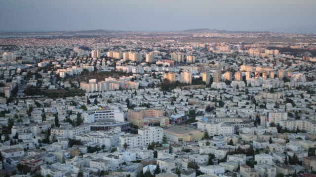 Drone, cityscape, urban streets, Tunis at sunset