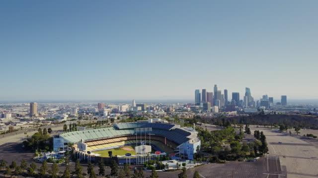 Drone Climbing Above Los Angeles Near Dodger Stadium