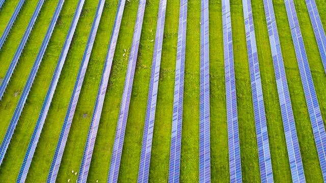 vídeos de stock, filmes e b-roll de drone clip panning across a field of solar panels - power supply