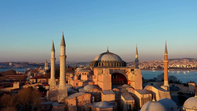 hagia sophia mosque 4k drone close-up - istanbul stock videos & royalty-free footage