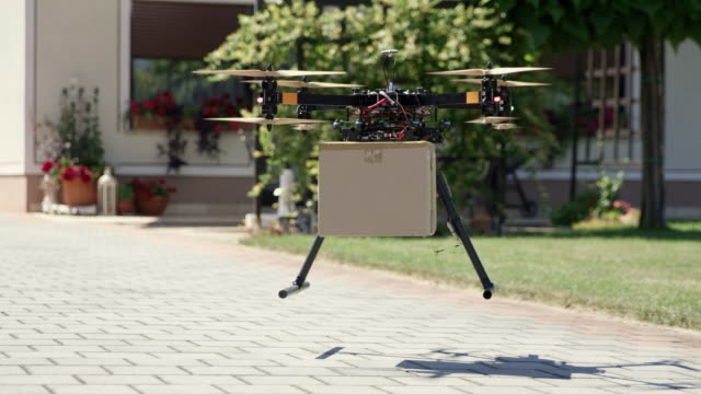 WS Drone delivering a package