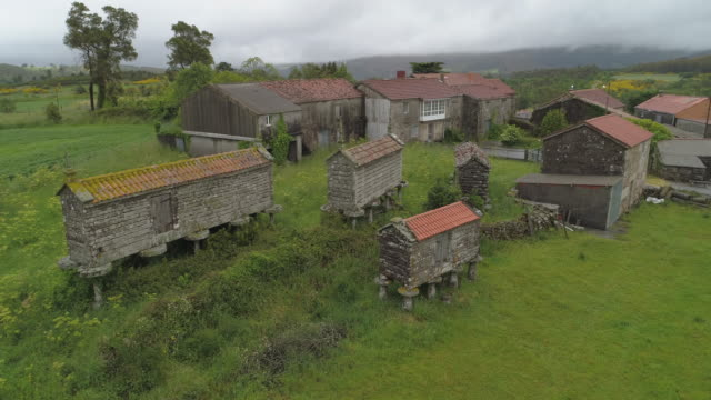 vidéos et rushes de drone descending over traditional barns and houses amidst green plants in village against cloudy sky - galicia, spain - espagne
