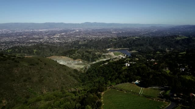 a drone descends hills and vineyards in san jose california - san jose california stock videos & royalty-free footage