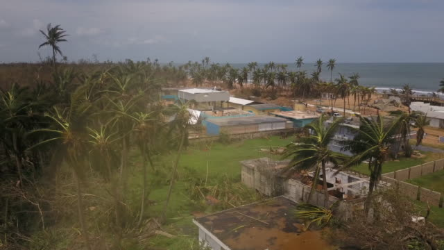vídeos de stock, filmes e b-roll de wpix drone pov devastation in puerto rico following hurricane maria - porto riquenho