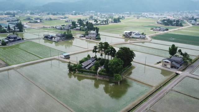 drone: dispersed settlement in toyama, japan - 農村の風景点の映像素材/bロール
