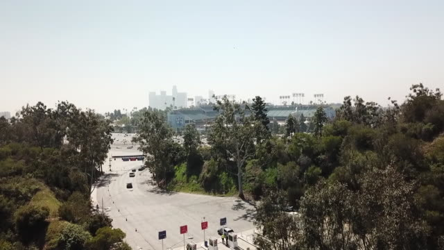 ktla drone pov dodger stadium - sports league stock videos & royalty-free footage