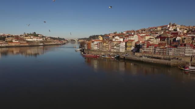 vídeos de stock e filmes b-roll de drone: douro river, cityscape and dom luis bridge - embarcação comercial