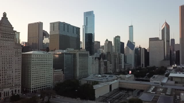 WGN Drone POV of Downtown Chicago Skyline Near Sunset on Sept 22 2017