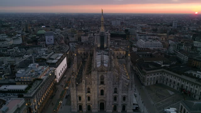 drone duomo milano. 4k - cathedral stock videos & royalty-free footage