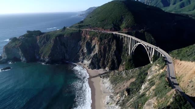 A drone flies above the Bixby Bridge in Big Sur California