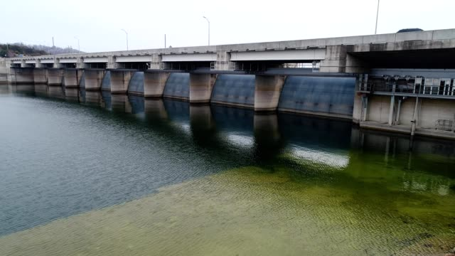 A drone flies along water management emergency spillway at Lake Table Rock Branson Missouri