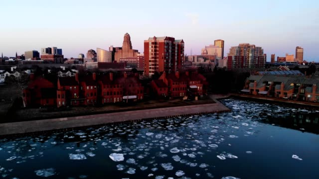 a drone flies around the icy coast of buffalo new york - buffalo new york state stock videos & royalty-free footage