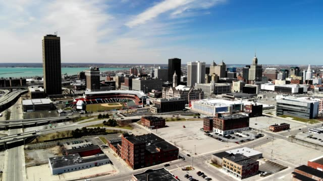 a drone flies away from a baseball field in downtown buffalo new york - buffalo new york state stock videos & royalty-free footage