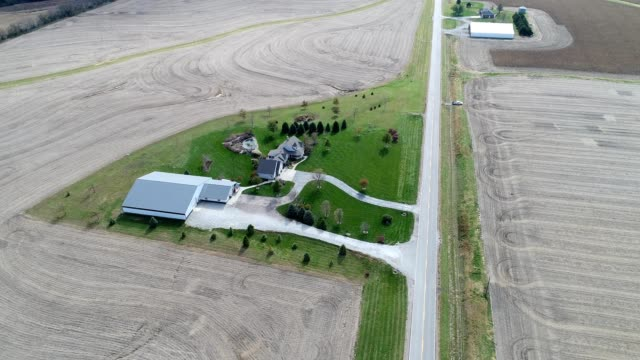 A drone flies by a country home in Firth Nebraska